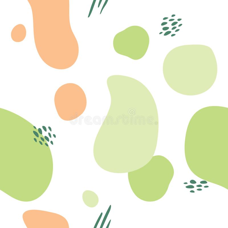 Creative unusual unique artistic hand drawn seamless pattern in summer colors. Background for advertising, social media. Web design, etc stock illustration