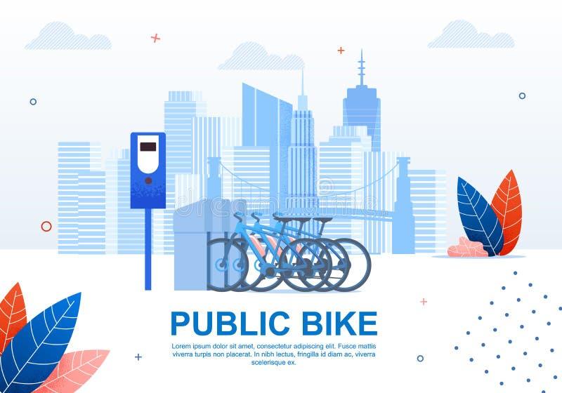 Creative Urban Transportation, Public Bike Banner. Creative Urban Transportation, Public Bike Cartoon Flat Banner Vector Illustration. Using Sharing System vector illustration