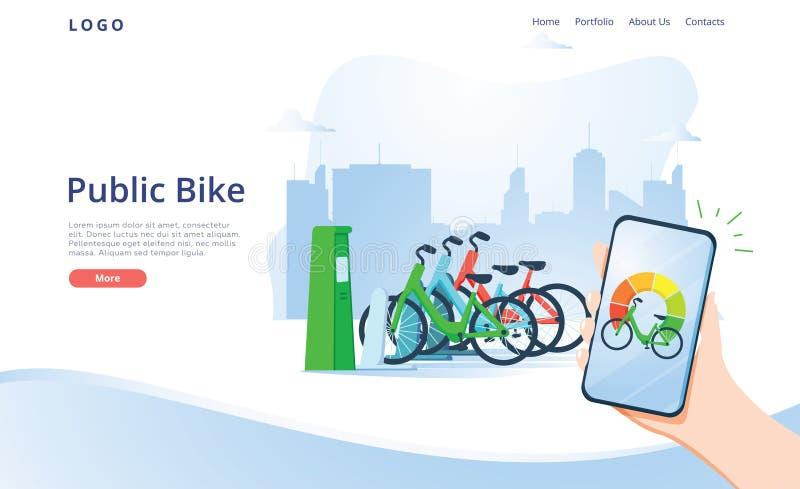 Creative Urban Transportation Web Design. Public Bike Cartoon Flat Banner Vector Illustration. Using Sharing System vector illustration