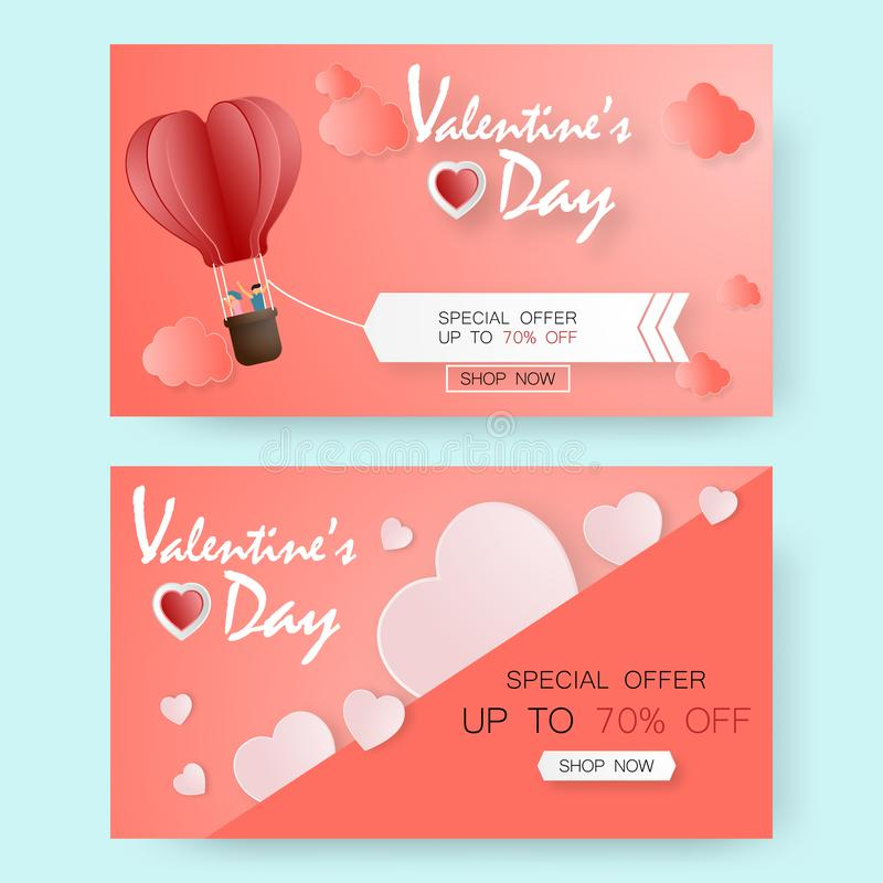 Creative valentine`s day sale vector illustration paper cut. greeting card. Banner template elegant background vector illustration