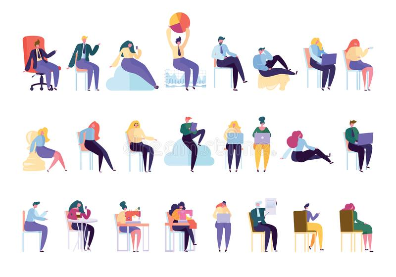 Creative Various People Professional Character Set. Businessman Work Sit on Chair Isolated. Woman Work Dressmaker Knitting Machine. Businesswoman Manager vector illustration