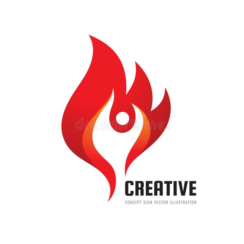 Creative - vector business logo template concept illustration. Fire flame creative sign. Abstract human character symbol. stock illustration