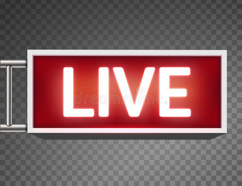Creative Vector Illustration Of On Air Live Glowing Sign Isolated On