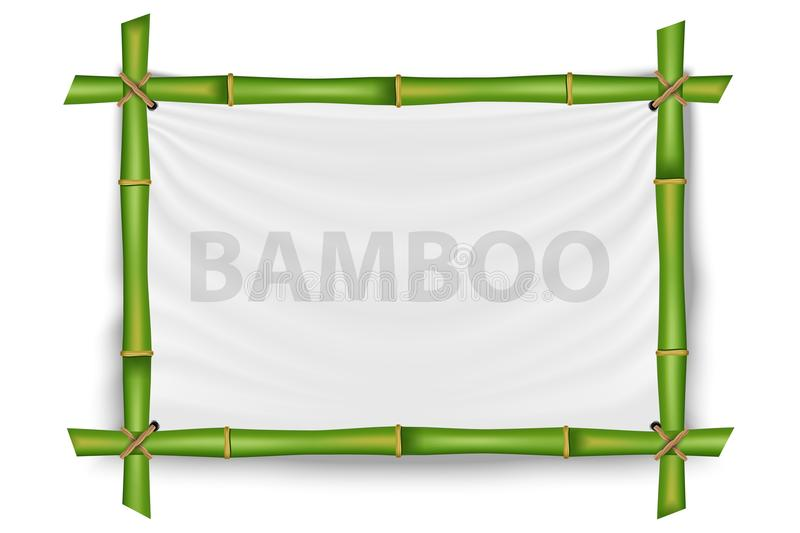 Creative vector illustration of bamboo stems frame isolated on background. Art design blank mockup template. Rope, paper, silk can vector illustration