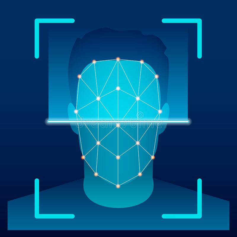 Creative vector illustration of biometric face verification scan, identification scanning system on background. Art. Design high technology detection template royalty free illustration