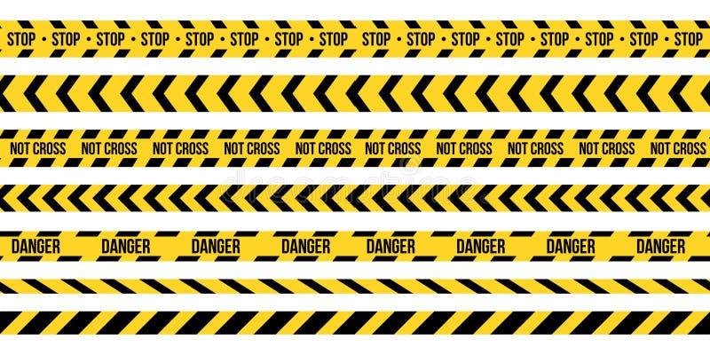 Creative vector illustration of black and yellow police stripe border. Set of danger caution seamless tapes. Art design line of cr stock illustration