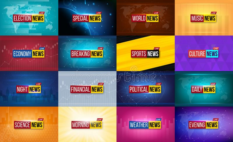 Creative vector illustration of breaking news background. World, sports, weather, financial, political, culture, science, morning,. Night daily evening economy vector illustration