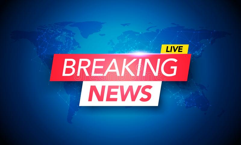 Vector Illustration Breaking News Live on World Map Background for Business and Technology stock illustration