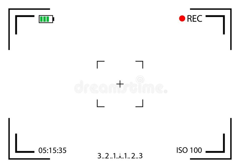 Creative vector illustration of camera viewfinder isolated on background. Art design mirorless, DSLR. Digital focus. Abstract conc. Ept graphic element screen royalty free illustration