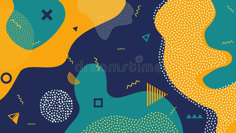 Creative vector illustration of children cartoon color splash background. Art design trendy 80s-90s memphis style. Geometric line shape pattern. Abstract stock illustration