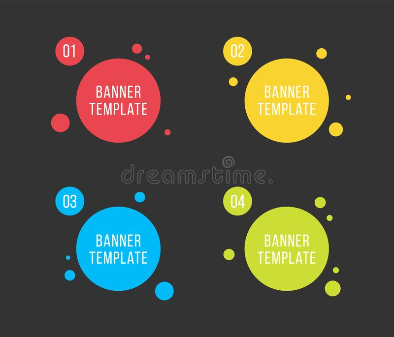 Creative vector illustration of colorful circle text boxes set isolated on background. Overlay colors shape round banners art royalty free illustration