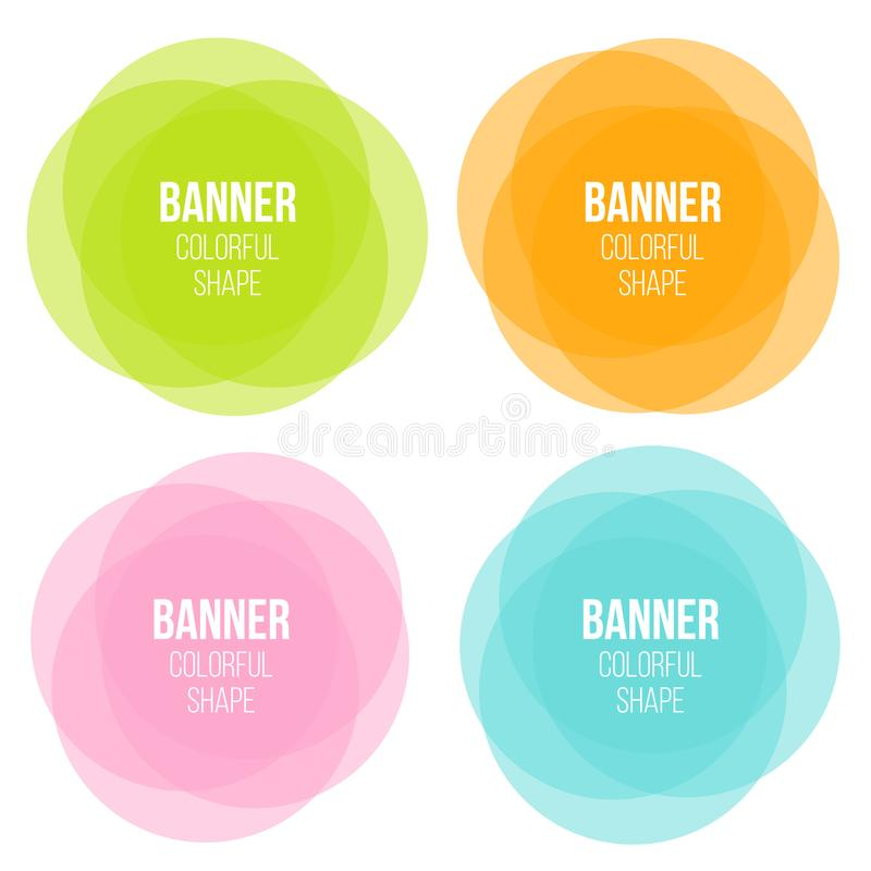 Creative vector illustration of colorful round abstract banners. Overlay colors shape art design. Fun label form. Paper style spot vector illustration