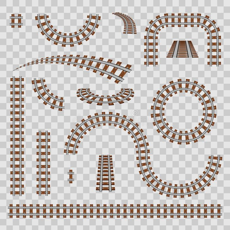 Creative vector illustration of curved railroad isolated on background. Straight tracks art design. Own railway siding. Transportation rail road. Abstract vector illustration