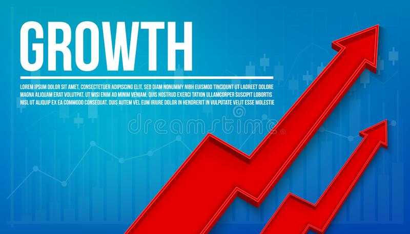 Creative vector illustration 3d arrow financial growth, graphic grow banner background. Art design business presentation stock illustration