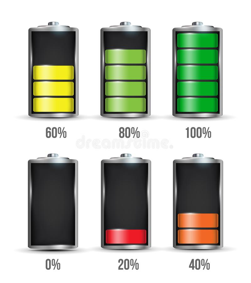 Creative vector illustration of 3d different charging status battery load isolated on transparent background. Discharged power sou vector illustration