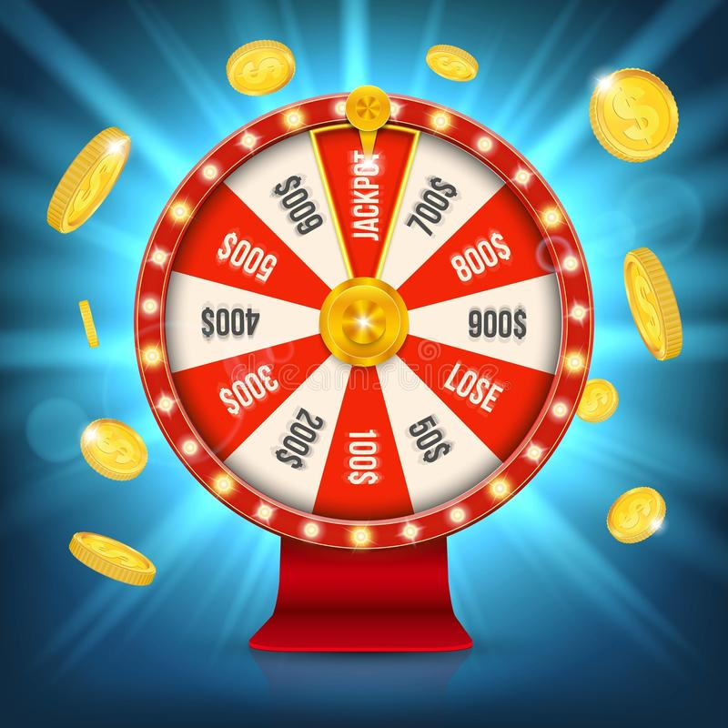 Creative vector illustration of 3d fortune spinning wheel. Lucky roulette win jackpot in casino art design. Abstract concept graph vector illustration