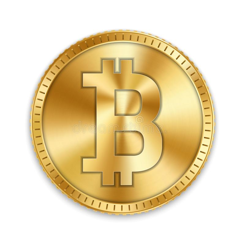 Creative vector illustration of 3d golden bitcoin coin isolated on background. Art design digital currency, cryptocurrency. Stock. Market electronic money vector illustration