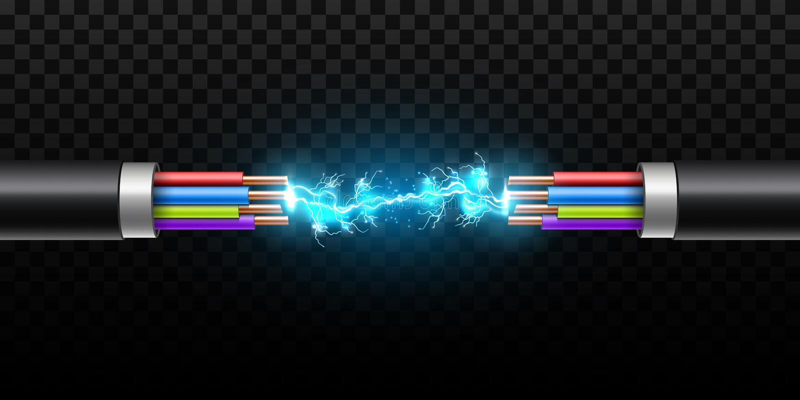 Creative vector illustration of electric glowing lightning between colored break cable, copper wires with circuit sparks vector illustration