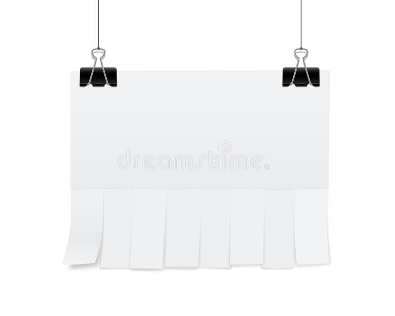 Creative vector illustration of empty blank sheet paper advertising with tear-off cut slips isolated on transparent background. St. Reet art design copy space royalty free illustration
