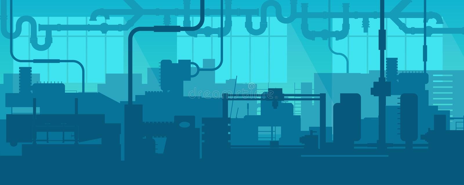 Creative vector illustration of factory line manufacturing industrial plant scen interior background. Art design the vector illustration