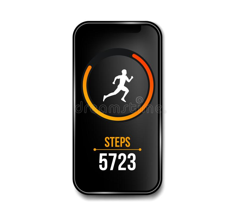 Creative vector illustration of fitness counter run app in phone and wrist band bracelet, activity tracker isolated on. Background. Art design smartphone vector illustration