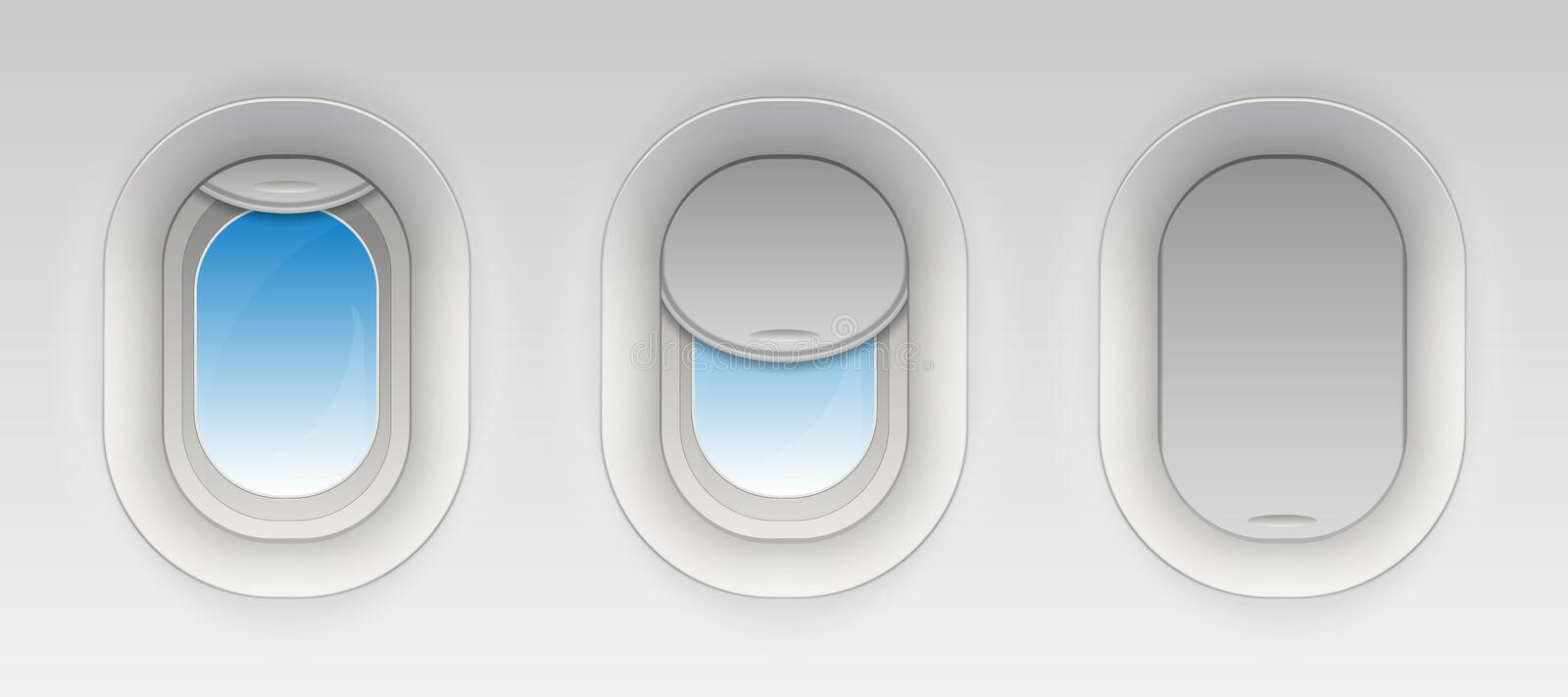 Creative vector illustration of flight airplane window, blank plane portholes isolated on transparent background. Art. Design aircraft open and closed royalty free illustration
