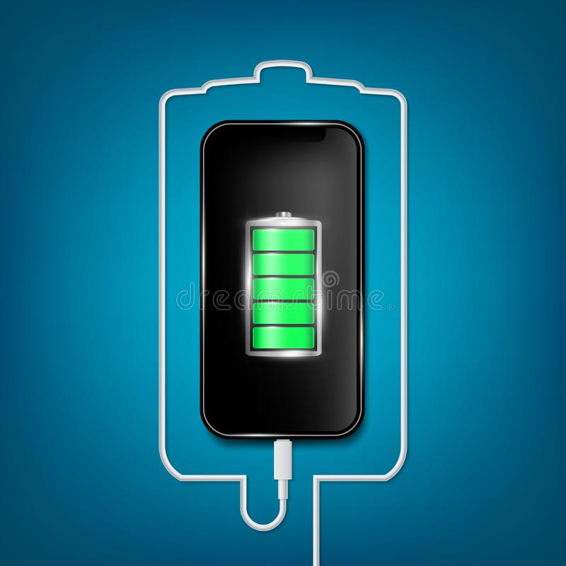 Creative vector illustration of full charged battery smartphone with cellphone usb plugs cable isolated on background. Art design universal recharger stock illustration