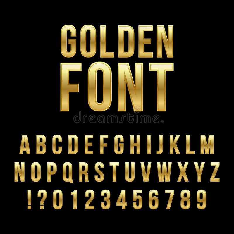 Creative vector illustration of golden glossy font, gold alphabet, metal typeface isolated on transparent background royalty free illustration