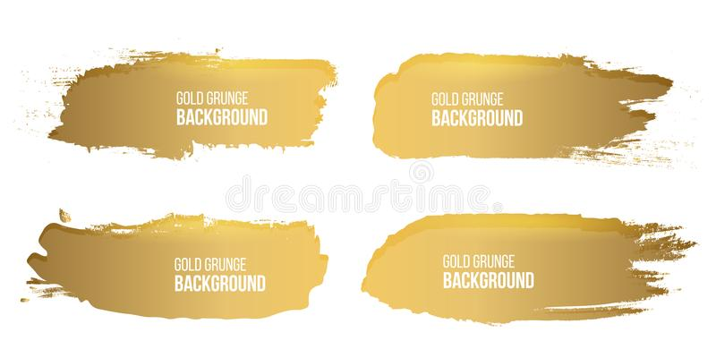 Creative vector illustration of grunge gold rough brush strokes isolated on background. Art design stains. Abstract stock illustration
