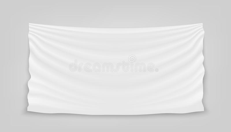 Creative vector illustration of hanging empty white cloth isolated on background. Art design banner fabric textile with shadow. Bl. Ank flag. Abstract concept royalty free illustration