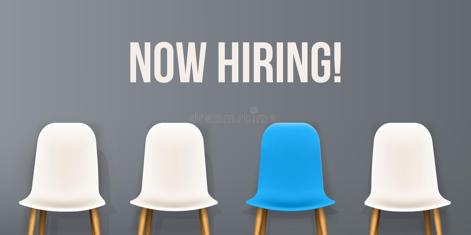Creative vector illustration of we are hiring - recruiting concept, resources job employment career jobless interview. Chairs isolated on background. Art royalty free illustration