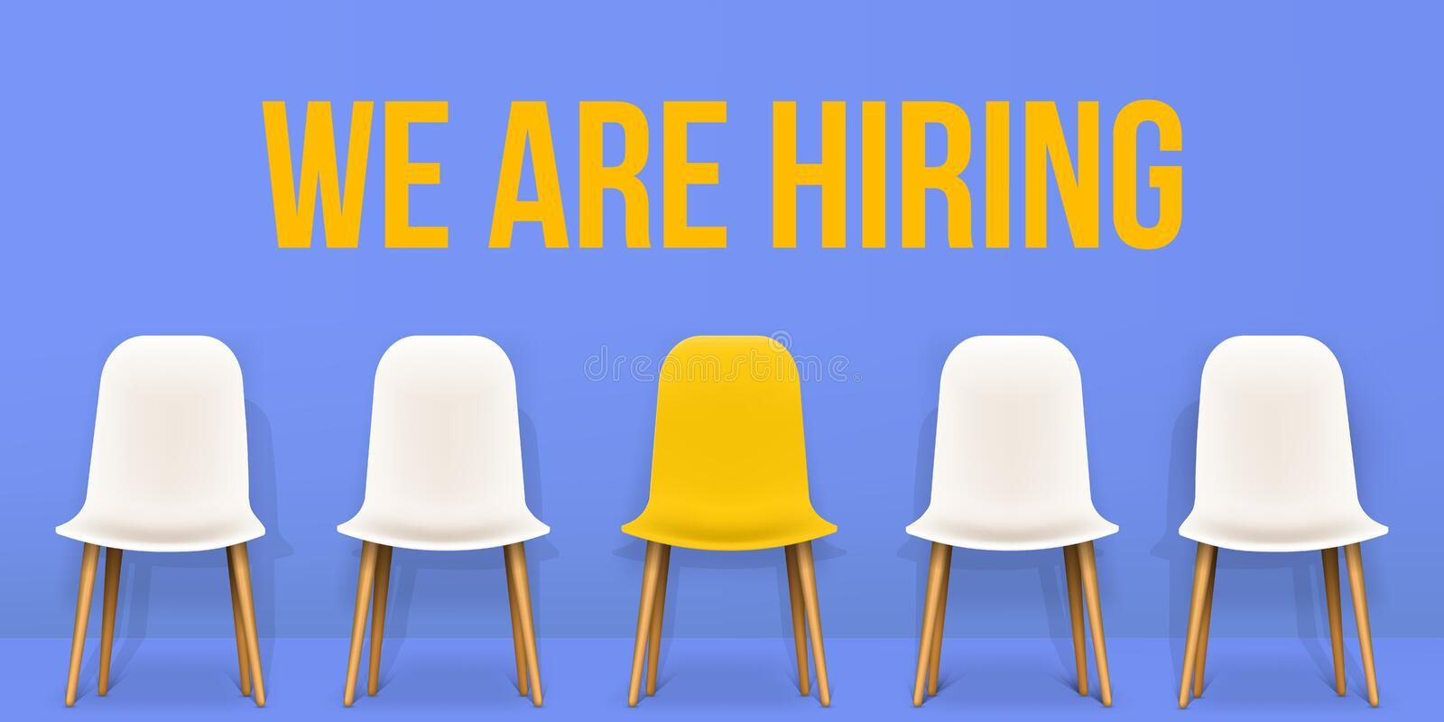 Creative vector illustration of we are hiring - recruiting concept, resources job employment career jobless interview. Chairs isolated on background. Art vector illustration