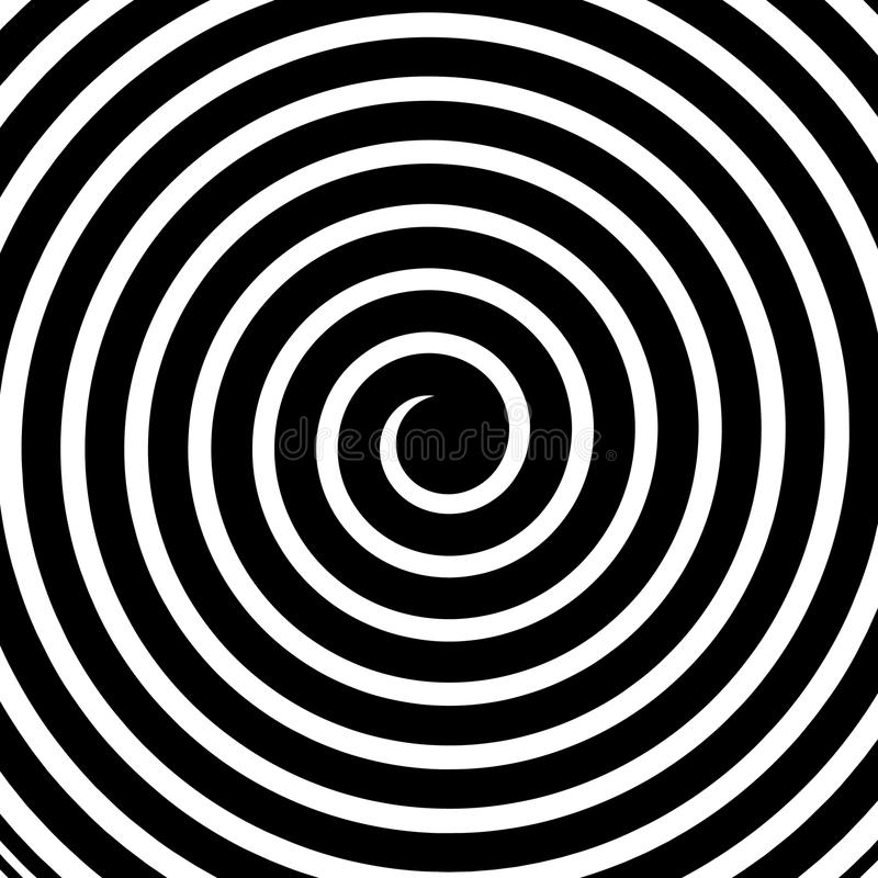 Creative vector illustration of hypnotic psychedelic spiral. Art design radial rays, twirl, twisted, sunburst, vortex. Abstract concept graphic element. Comic royalty free illustration
