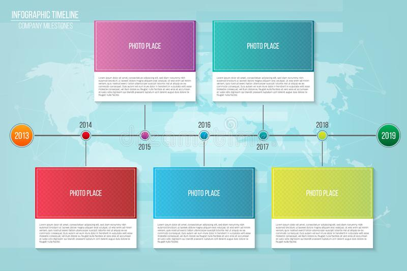 Creative vector illustration of infographic company milestones timeline template isolated on transparent background. Photo placeholders. Art design. Abstract stock illustration