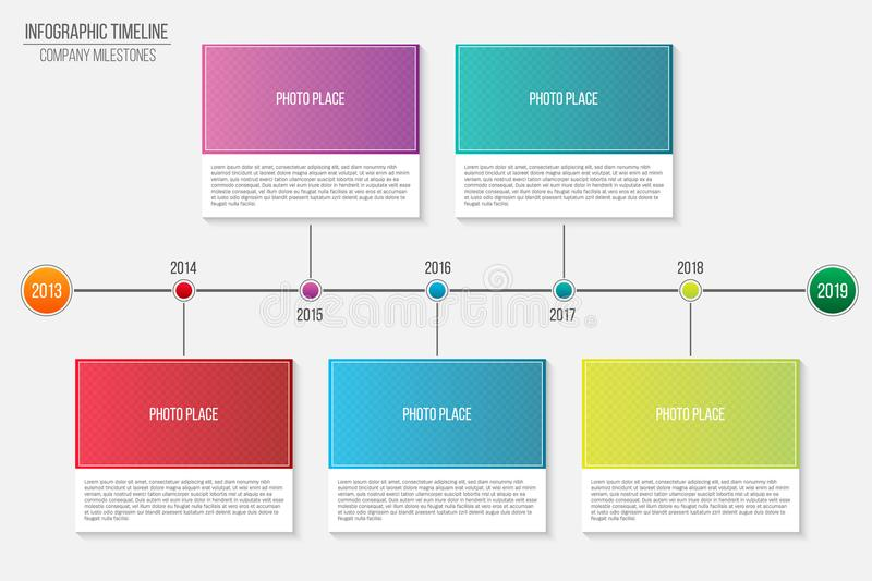 Creative vector illustration of infographic company milestones timeline template isolated on transparent background. Photo placeho vector illustration