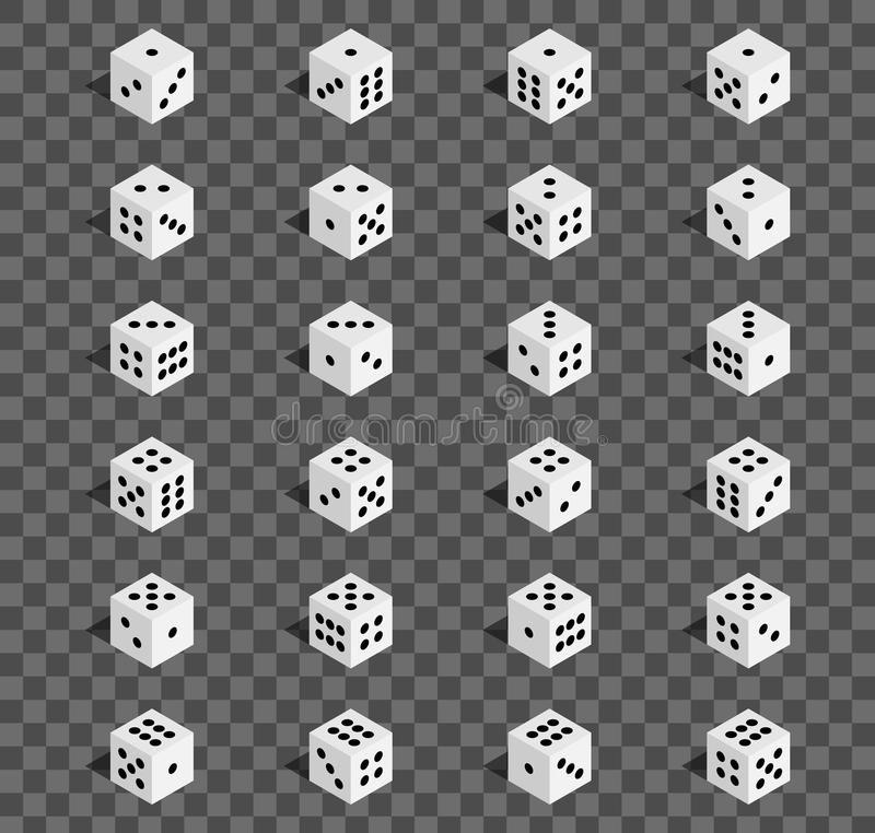 Creative vector illustration of isometric 3d gambling dice combination isolated on transparent background. Art design game. Abstra. Creative vector illustration vector illustration