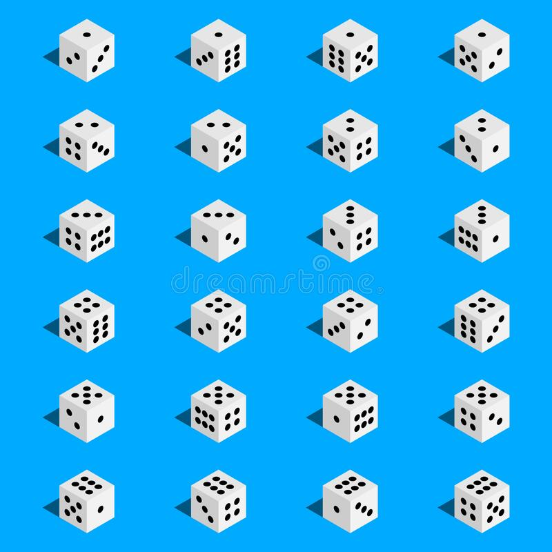 Creative vector illustration of isometric 3d gambling dice combination isolated on transparent background. Art design game. Abstra. Creative vector illustration royalty free illustration