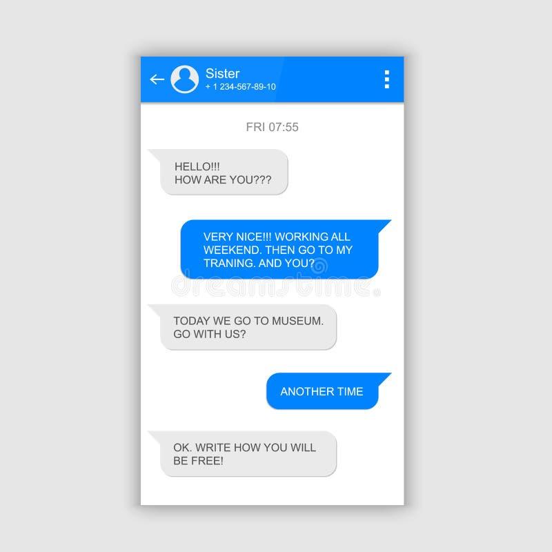 Creative vector illustration of messenger window. Social network talking art design. Mobile phone live chat boxes. Smartphone onli. Ne app. Compose dialogues stock illustration