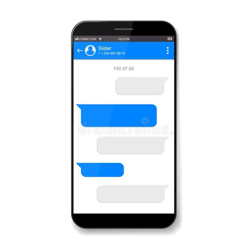 Creative vector illustration of messenger window. Social network talking art design. Mobile phone live chat boxes. Smartphone onli. Ne app. Compose dialogues royalty free illustration