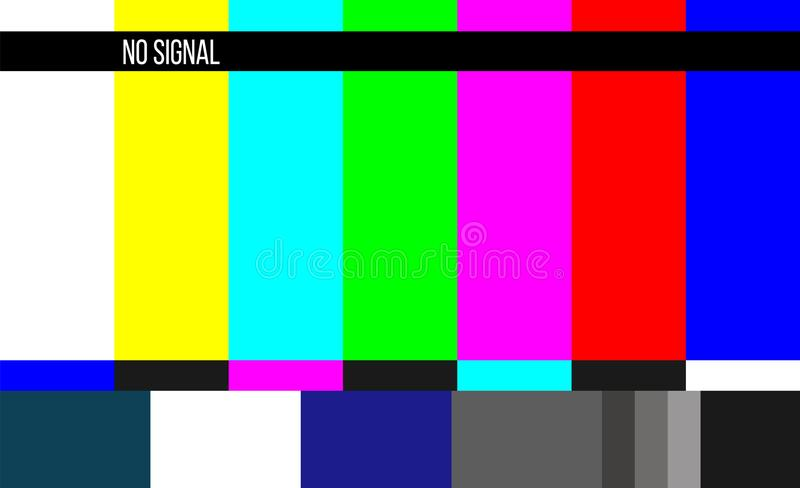 Creative vector illustration of no signal TV test pattern background. Television screen error. SMPTE color bars technical problems vector illustration