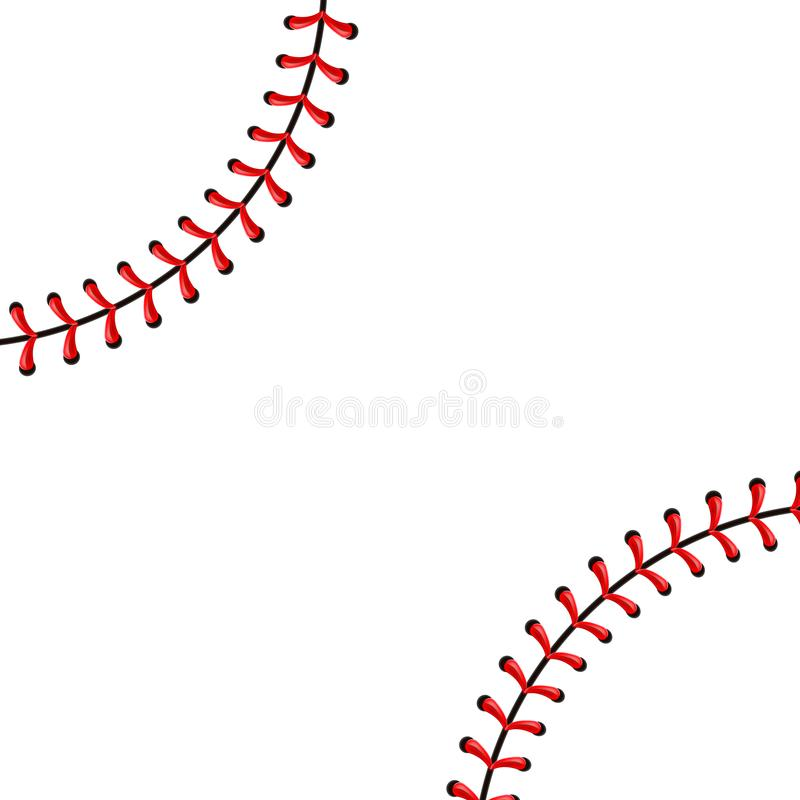 Free Creative Vector Illustration Of Sports Baseball Ball Stitches, Red Lace Seam Isolated On Transparent Background. Art Royalty Free Stock Image - 121063036