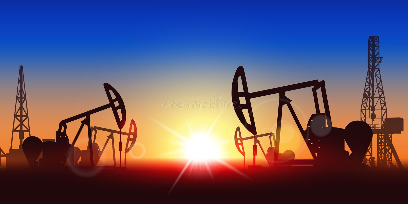 Creative vector illustration of oil pump industry silhouette, field pumpjack, rig drill over sunset isolated on vector illustration