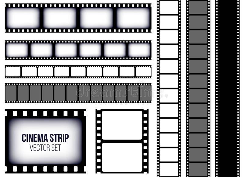 Creative vector illustration of old retro film strip frame set isolated on transparent background. Art design reel cinema filmstri royalty free illustration