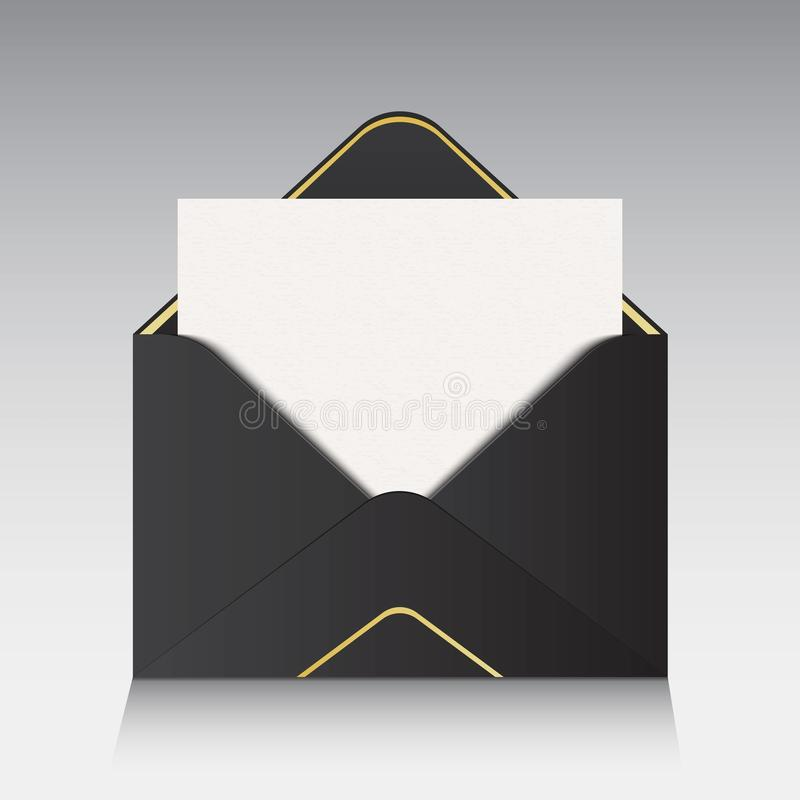 Creative vector illustration of open paper envelope isolated on background. For message, mail, email and business document. Art de stock illustration