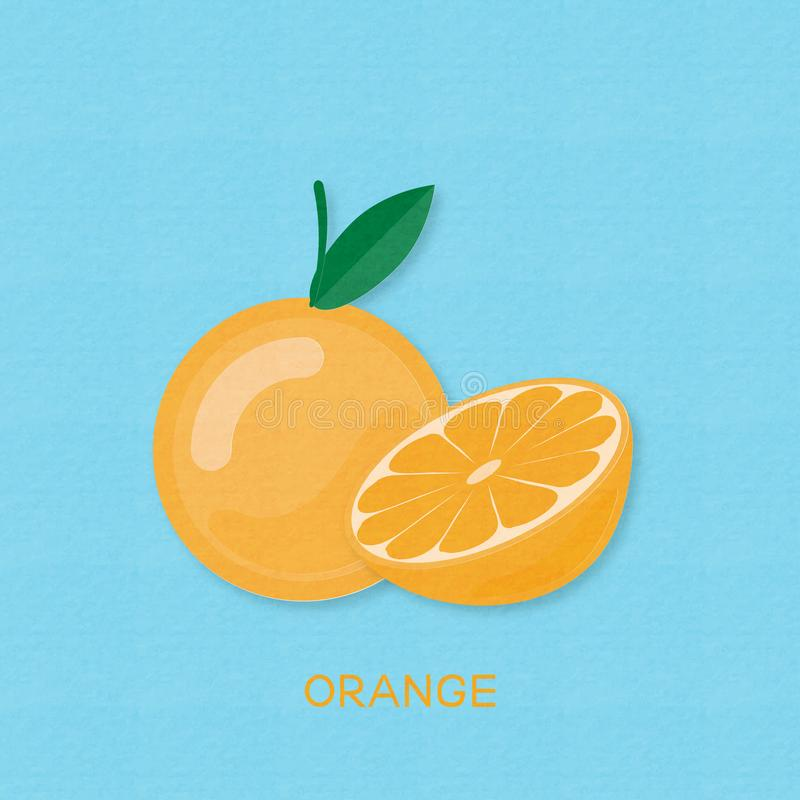 Creative vector illustration Orange fruits and Oranges half. On blue background with paper textured. Paper art digital craft papercut style vector illustration
