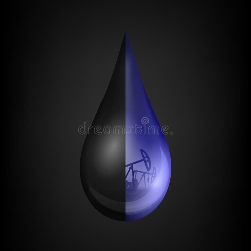 Creative vector illustration of petroleum drop, droplet of a crude gasoline or oil from pump industry, barrel. On transparent background. Art design template stock illustration