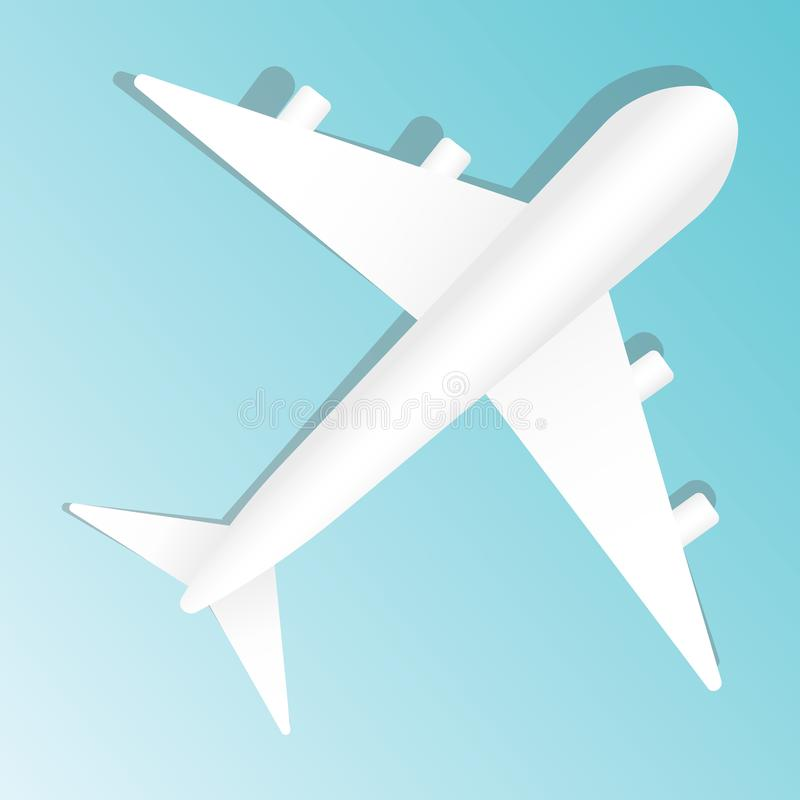 Creative vector illustration of plane isolated on blue background. Top view airplane. Travel art design of summer vector illustration