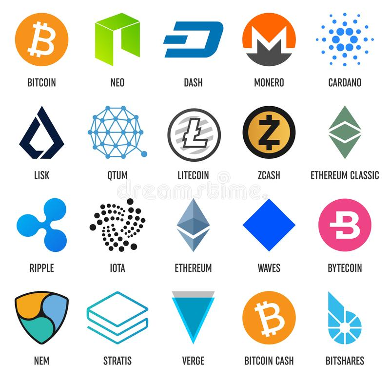 Creative vector illustration of popular crypto currency blockchain logo coin set isolated on transparent background. Art design cr royalty free illustration