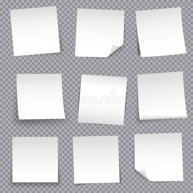 Creative vector illustration of post note papers sticker pin isolated on transparent background. Translucent adhesive sticky tape stock illustration