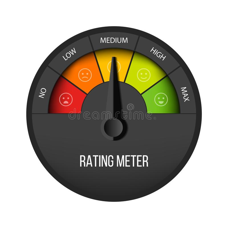 Creative vector illustration of rating customer satisfaction meter. Different emotions art design from red to green stock illustration